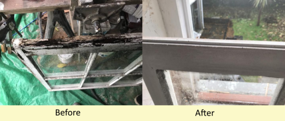 Rot repairs of sash windows Flintshire